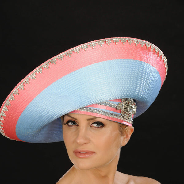 OE8013- Wide brim satin dress hat for women
