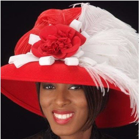 big brim winter wool dress hats in red for ladies