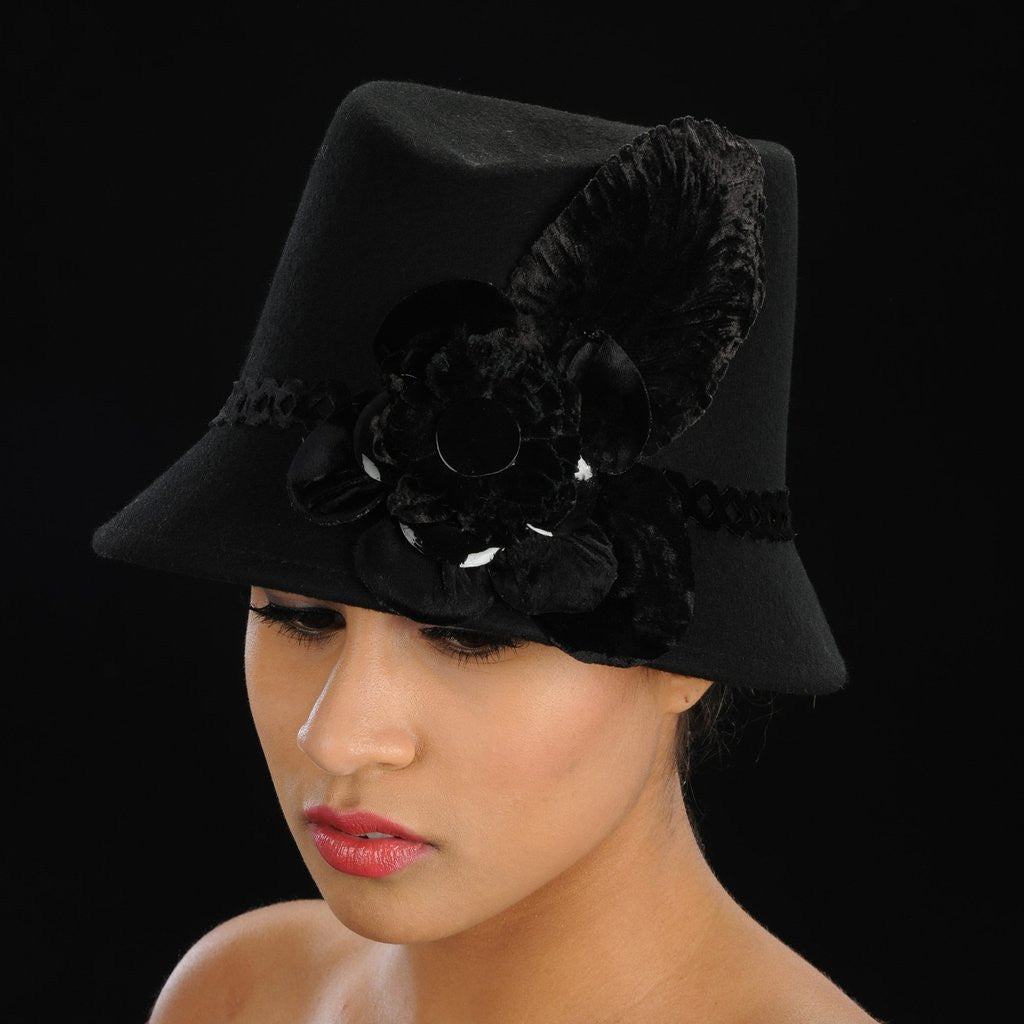 FW1125 ladies winter felt hat with velvet flower - SHENOR COLLECTIONS