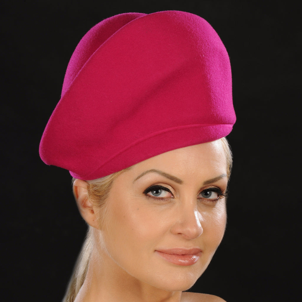 Women's fuschia wool pillbox hats