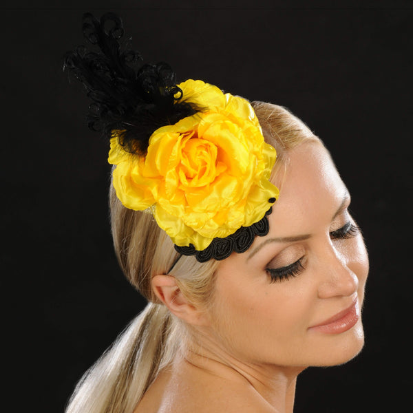 NA1058- Yellow flower ladies fascinator - SHENOR COLLECTIONS