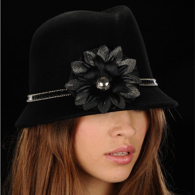 FW1101-Black felt with custom made flower and trim. - SHENOR COLLECTIONS