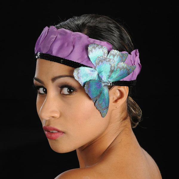 F6007-Butterfly head gear with flower pebbles - SHENOR COLLECTIONS