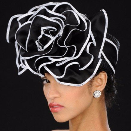 BW9009- Summer women hat in black and white - SHENOR COLLECTIONS
