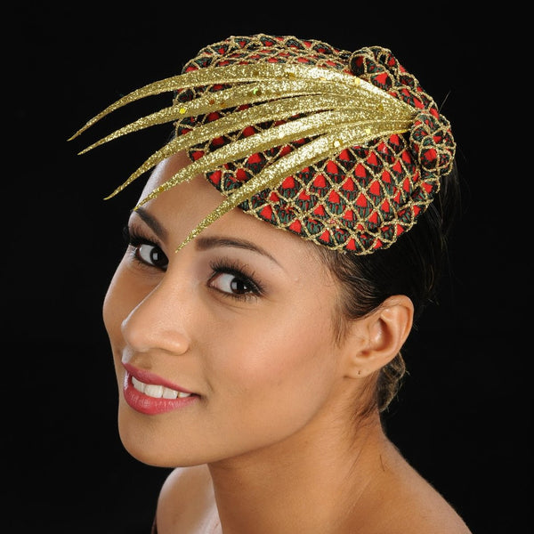 FW1131 Red fascinator felt covered with green and gold fabric - SHENOR COLLECTIONS