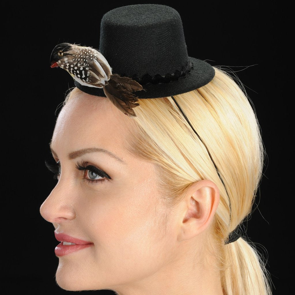 FW1127 Mini felt fascinator hat with small bird design - SHENOR COLLECTIONS