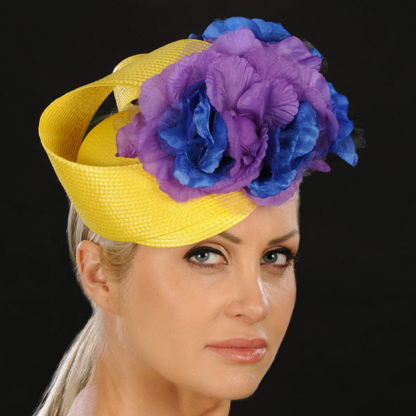 ladies yellow straw fascinator with purple and blue flowers