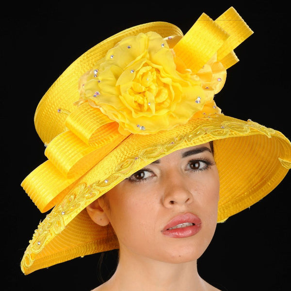 OE8009 Yellow satin church hat with rhinestones and flower