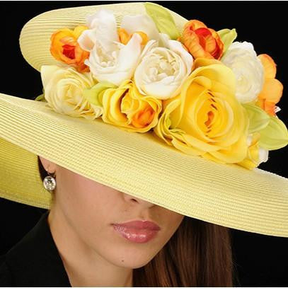 AC7026-Yellow straw ladies dress hats with assorted flowers - SHENOR COLLECTIONS