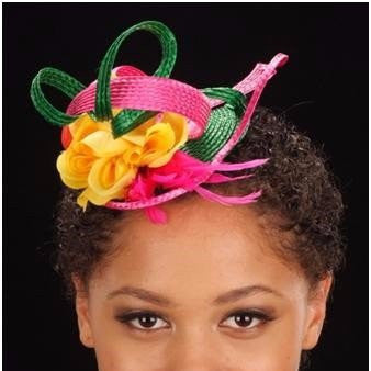 F6013- Green and pink fascinator for women - SHENOR COLLECTIONS