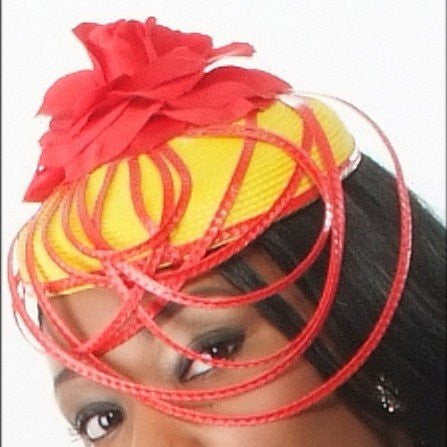 F6021-Yellow and red straw fascinator with red flower