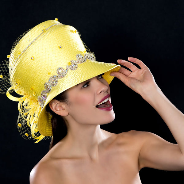 OE66521- Diamond trimmed yellow satin dress hat with dotted mesh