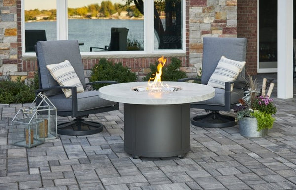 White Onyx Beacon Chat Height Gas Fire Pit Table