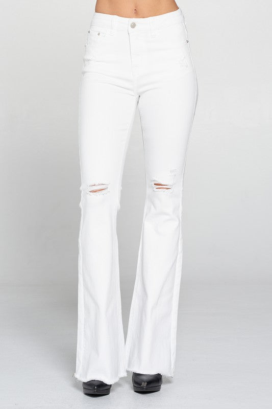 Distressed Bell Bottom Jeans - White