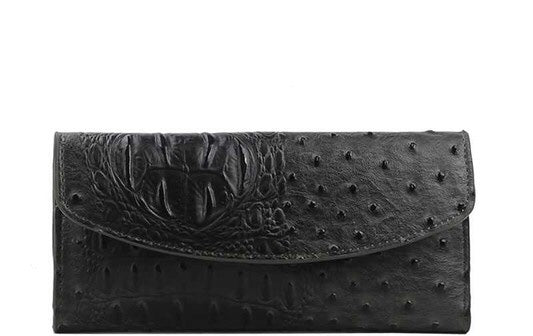 Faux Croc Pattern Wallet - Charcoal