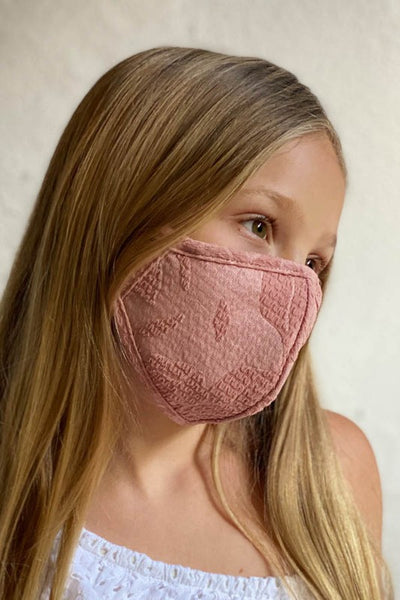 Children's Embroidered Face Mask w/ Filter Pocket - Mauve