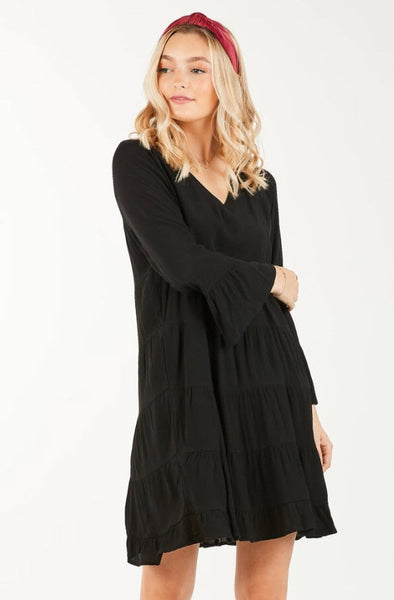 Tiered Ruffle Dress - Black