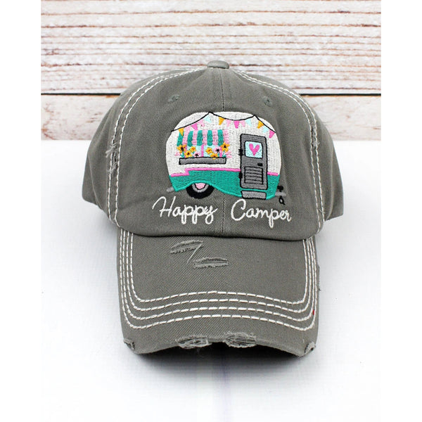 """Happy Camper"" Vintage Washed Ball Cap - Grey"