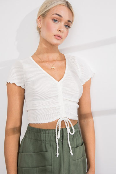 Cropped Top w/ Shirring Detail - Ivory