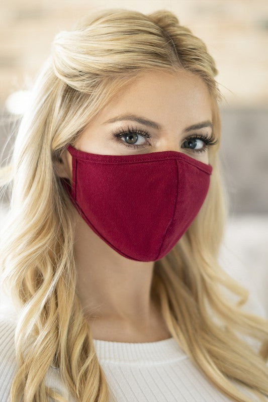 Cotton Face Mask - Burgundy