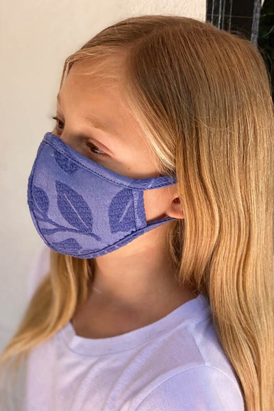 Children's Embroidered Face Mask w/ Filter Pocket - Denim Blue