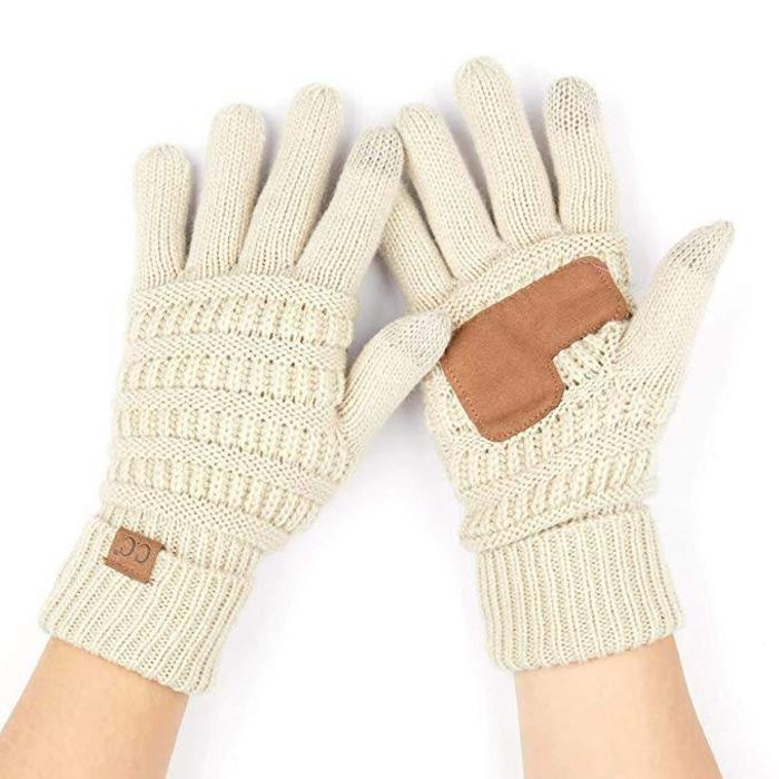CC Knit Gloves - Beige