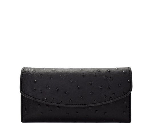Faux Croc Pattern Wallet - Black
