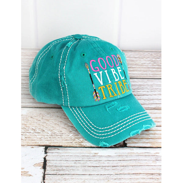 """Good Vibe Tribe"" Vintage Washed Ball Cap - Turquoise"
