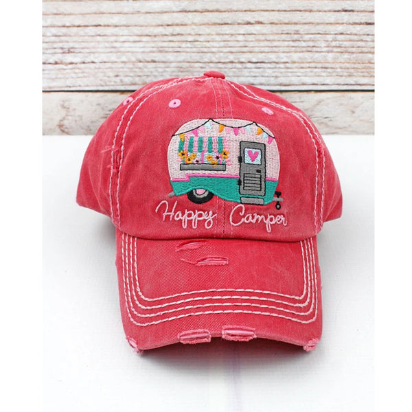 """Happy Camper"" Vintage Washed Cap - Hot Pink"