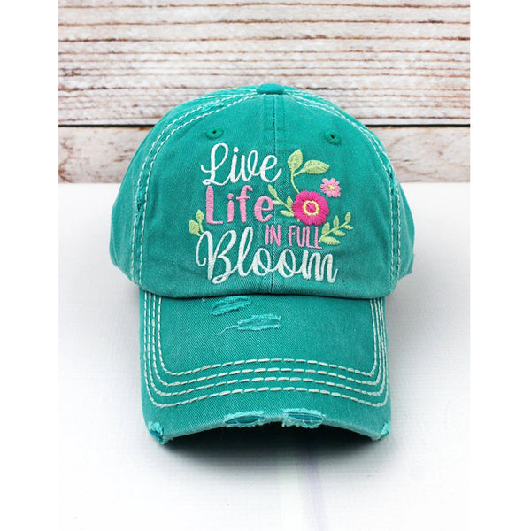 """Live Life In Full Bloom"" Vintage Washed Ball Cap - Turquoise"