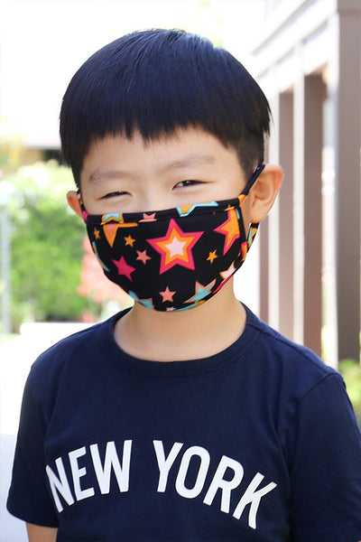 Children's Star Printed Face Mask - Black