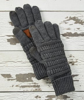 CC Knit Gloves - Dark Grey