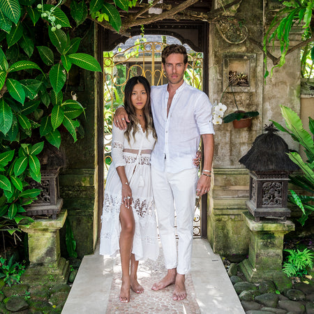 bohemian boho chic couple white linen white lace free spirit fashion style