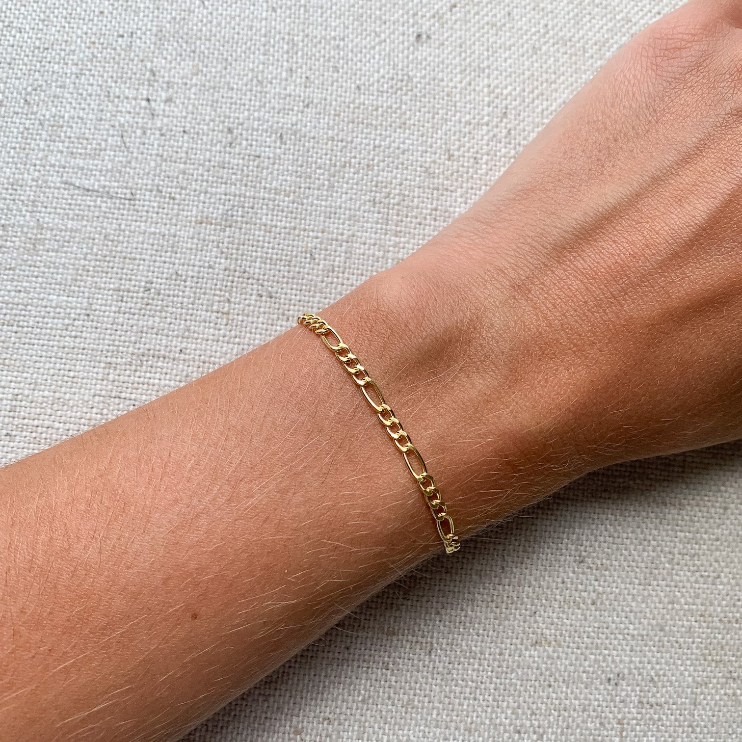 14k gold bracelet figaro chain jewelry kemmi collection