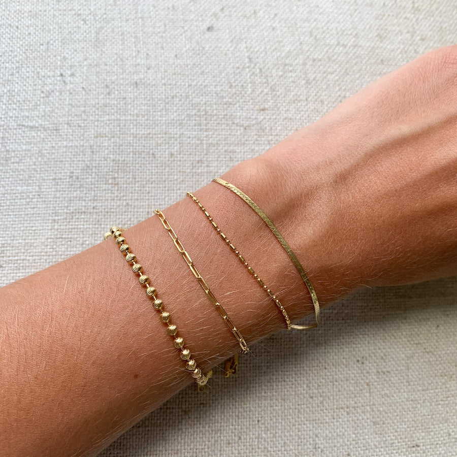 alternated beads chain bracelet 14k gold jewelry kemmi collection