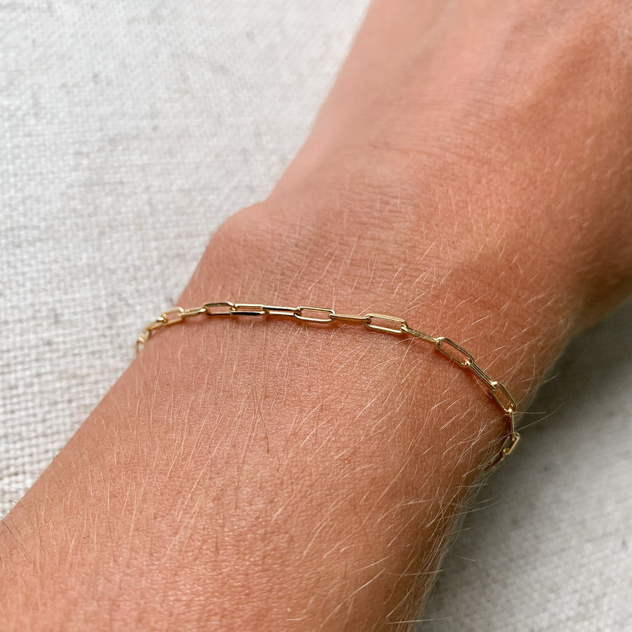 14k gold paper clip chain bracelet kemmi collection jewelry