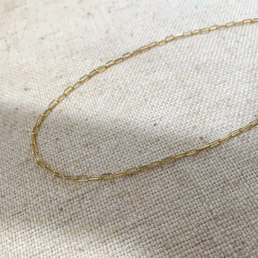14k gold paper clip style necklace chain choker kemmi collection jewrlry