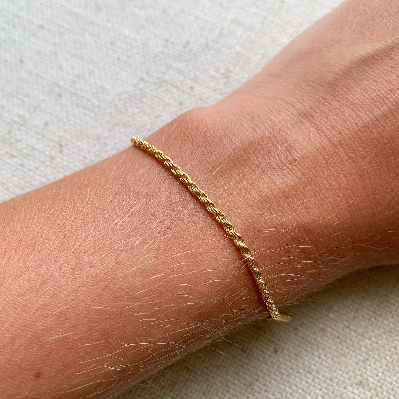 14k gold solid rope chain bracelet kemmi collection