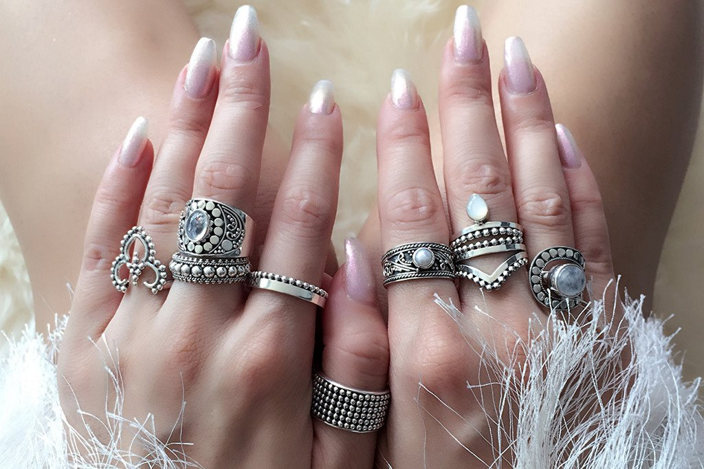 Sterling silver ring set handmade bohemian jewels mermaid gypsy style kemmi collection