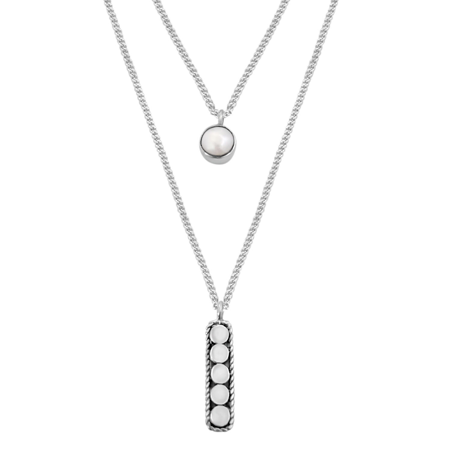 sterling silver necklace layered style handmade disc and pear classic kemmi jewelry