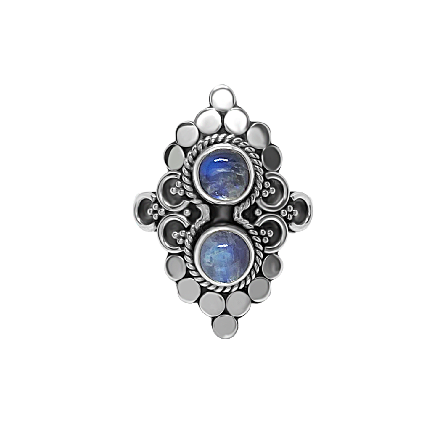 statement style sterling silver ring double moonstones bohemian chic jewelry kemmi collection