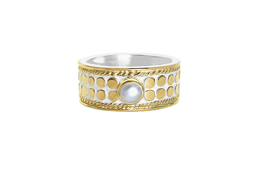 18k yellow gold vermeil wide band natural pearl handmade jewelry boho chic kemmi collection