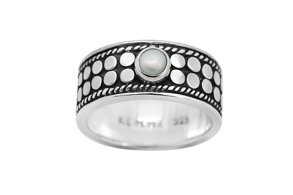 handmade solid sterling silver ring oxidized natural pearl classic style kemmi collection