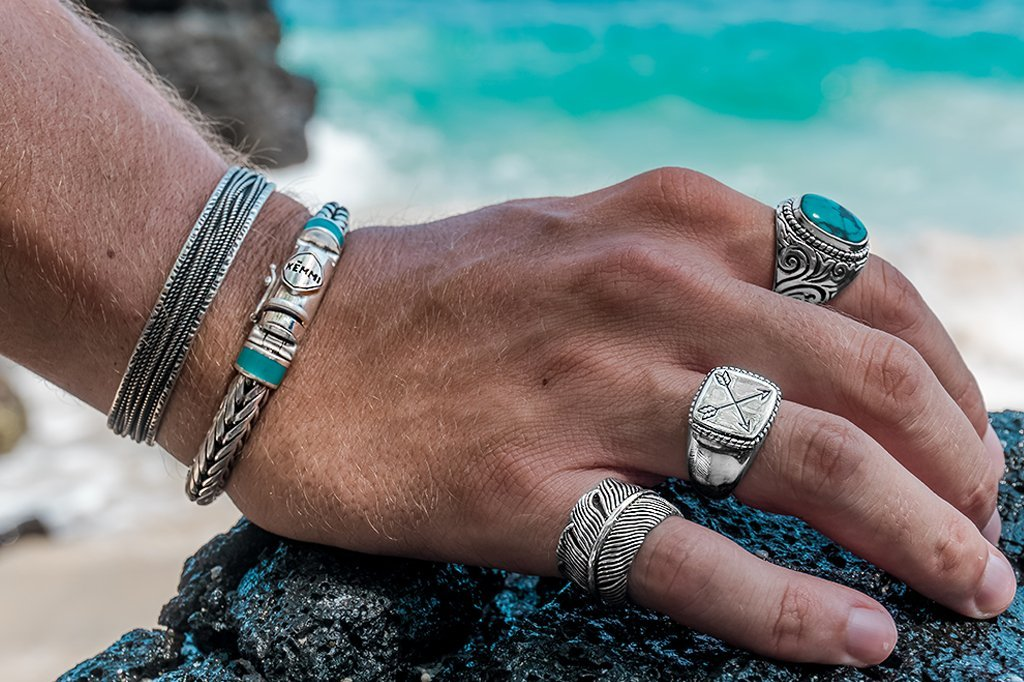 sterling silver mens ring set bracelets cuff bangle turquoise stone modern jewelry kemmi collection