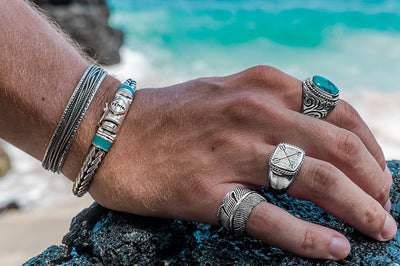 Men's jewelry accessory ring set sterling silver turquoise stone bracelet cuffs modern kemmi collection