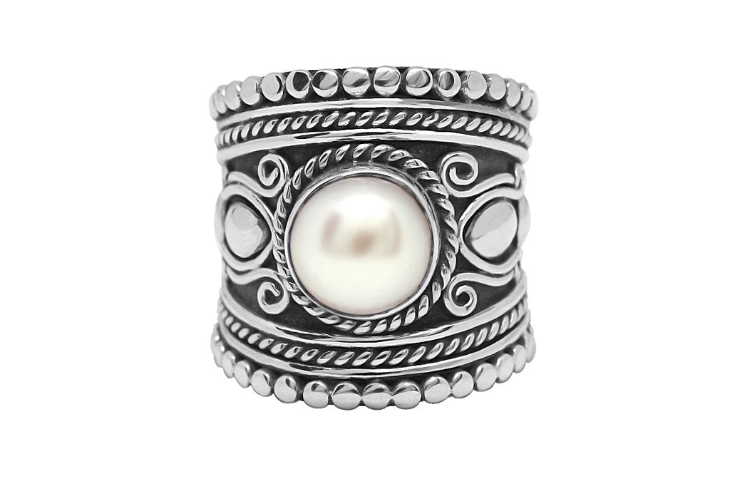 statement sterling silver ring pearl boho bohemian gypsy jewellery kemmi collection