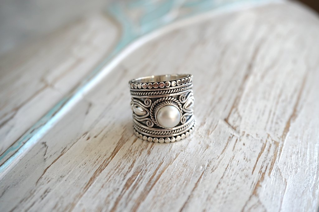 Large Sterling Silver Ring Pear Bohemian Boho Chic Handmade Jewelry Kemmi Collection