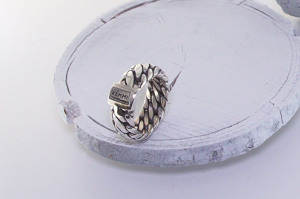 Men's sterling silver ring modern style handmade jewelry band kemmi collection