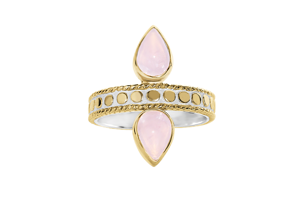 18k yellow gold vermeil ring symmetrical tear drop rose quartz stone disc band details boho chic jewelry kemmi collection