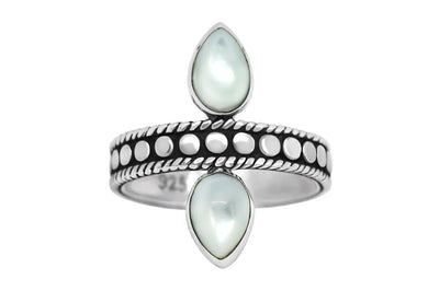 handmade sterling silver oxidized mother of pearl shell ring bohemian style kemmi collection